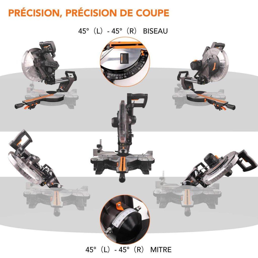 précision de coupe scie radiale Tacklife PMS03A